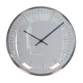 Metal Wall Clock Silver (Diameter 25cm)