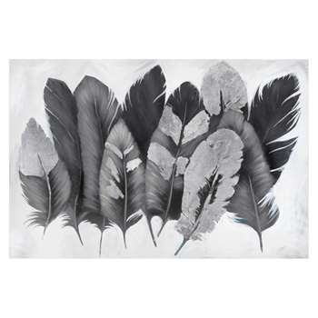 Metallic feather art grey and silver (H81 x W122cm)