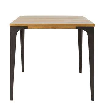METROPOLIS PRO - Profesionnal Industrial Dining Table in Pale Mango Wood (H76 x W75 x D75cm)