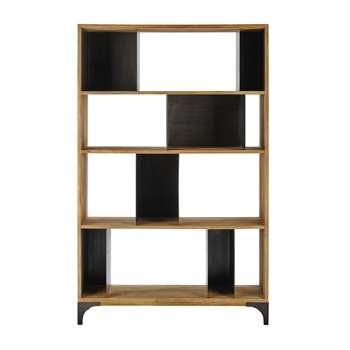 METROPOLIS Solid mango wood and metal shelf unit W 125cm