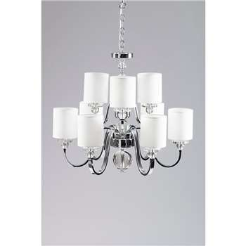Meyer Nine Light Crystal Chandelier (H110 x W55 x D55cm)