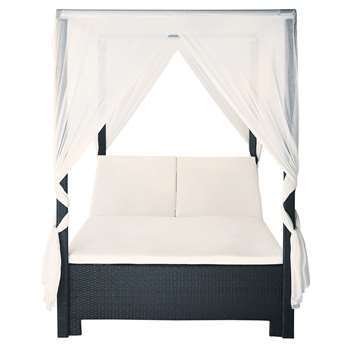 MIAMI Black Wicker Outdoor Four-Poster Bed with Cushions (H210 x W150 x D210cm)