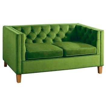 Miasto 2 Seater Sofa Emerald Green Velvet (H72 x W147 x D83cm)