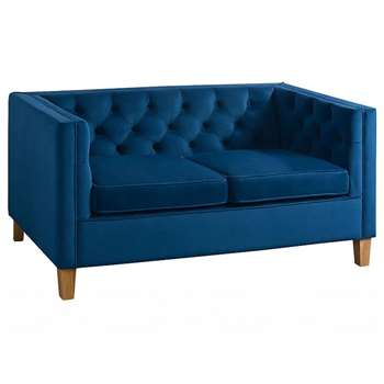 Miasto 2 Seater Sofa Ink Blue Velvet (H72 x W147 x D83cm)