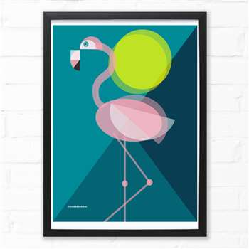Mid-Century Flamingo Fine Art Print, A4 (H29.7 x W21cm)