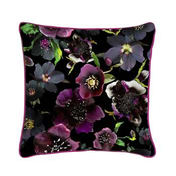 Midnight Floral Botanical Silk Cushion (H45 x W45cm)