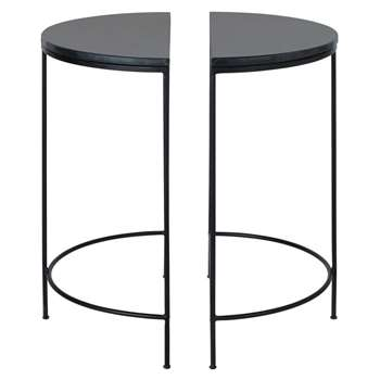MIDTOWN - 2 Metal and Black Marble Bedside Tables (H60 x W50 x D25cm)