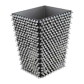 Mike + Ally - Spikes Waste Bin - Silver/Black (H29 x W22 x D18cm)