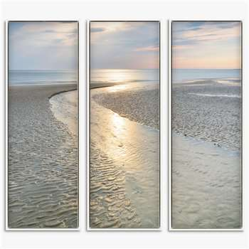 Mike Shepherd - Shimmering Light Seascape Triptych Framed Canvas, Set of 3, Blue/Multi (H94 x W34 x D3cm)