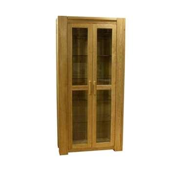 Milan 190cm Oak Glazed Display Cabinet (190 x 90cm)