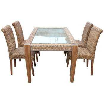 Milan Abaca Rattan Large Dining Table and 4 Chairs (Width 160cm)