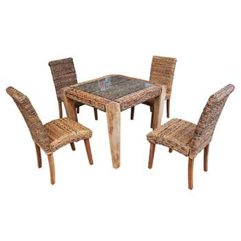 Milan Abaca Rattan Small Dining Table and 4 Chairs (Width 90cm)