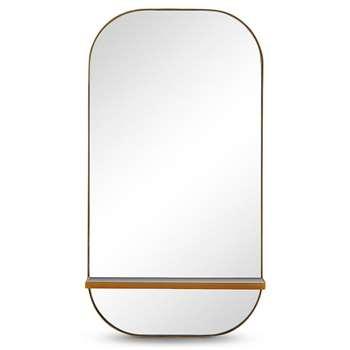 Milan Oblong Shelf Mirror, Gold (H75 x W40 x D10.5cm)