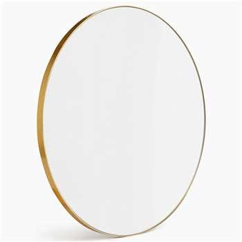 Milan Small Round Mirror, Antique Brass (Diameter 55cm)