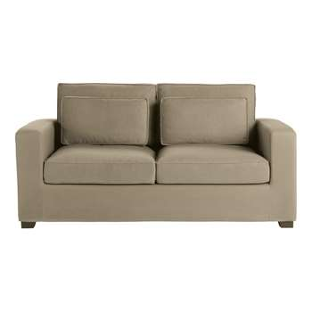 MILANO 3 seater cotton sofa bed in taupe, mattress 6 cm (H88 x W156 x D96cm)