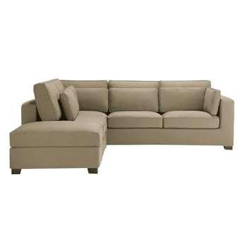 MILANO 5 seater cotton corner sofa in taupe (H88 x W262 x D245cm)