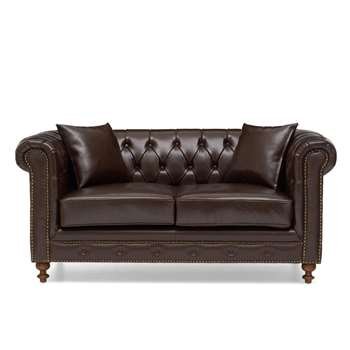 Milano Chesterfield Brown Leather 2 Seater Sofa (75 x 163cm)