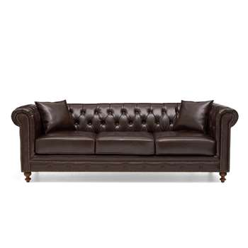 Milano Chesterfield Brown Leather 3 Seater Sofa (75 x 224cm)