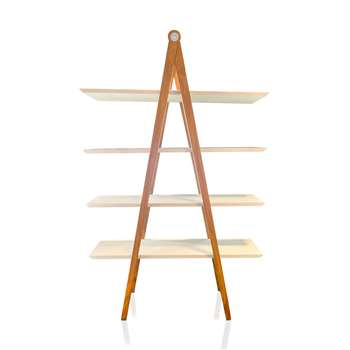 MILENA - White Faux Walnut Shelving Unit (H190 x W120 x D34cm)