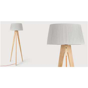 Miller Floor Lamp, Natural Wood and Orange (150 x 50cm)