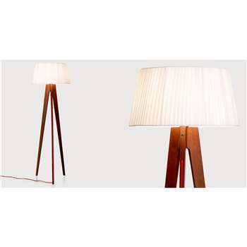 Miller Floor Lamp, Walnut and Red (150 x 50cm)