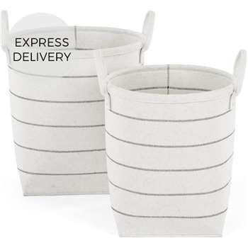 Millon Stripe Felt Set of 2 Laundry Baskets, Off White (H45 x W49cm)