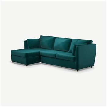 Milner Left Hand Facing Corner Storage Sofa Bed with Foam Mattress, Tuscan Teal Velvet (H83 x W247 x D155cm)