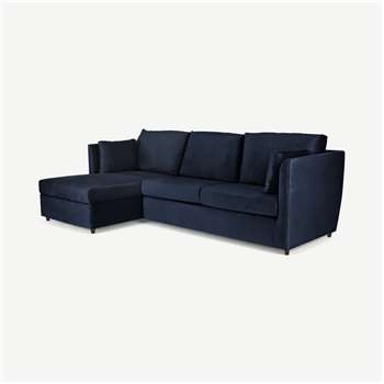 Milner Left Hand Facing Corner Storage Sofa Bed with Memory Foam Mattress, Regal Blue Velvet (H83 x W247 x D155cm)