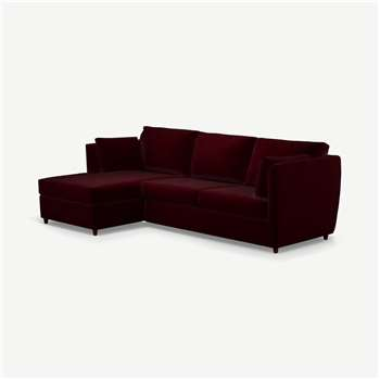 Milner Left Hand Facing Corner Storage Sofa Bed with Memory Foam Mattress, Shiraz Burgundy Velvet (H83 x W247 x D155cm)