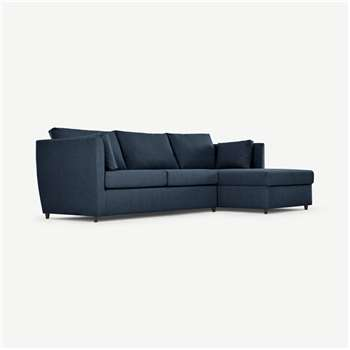 Milner Right Hand Facing Corner Storage Sofa Bed with Foam Mattress, Arctic Blue (H83 x W247 x D155cm)