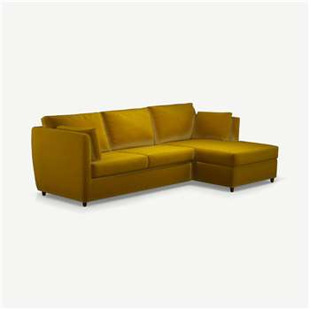 Milner Right Hand Facing Corner Storage Sofa Bed with Foam Mattress, Saffron Yellow Velvet (H83 x W247 x D155cm)