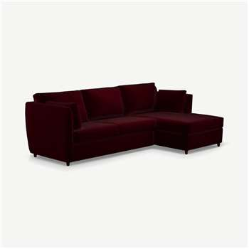 Milner Right Hand Facing Corner Storage Sofa Bed with Foam Mattress, Shiraz Burgundy Velvet (H83 x W247 x D155cm)