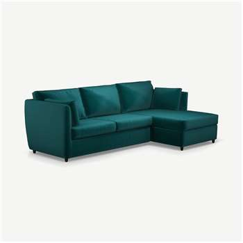 Milner Right Hand Facing Corner Storage Sofa Bed with Foam Mattress, Tuscan Teal Velvet (H83 x W247 x D155cm)