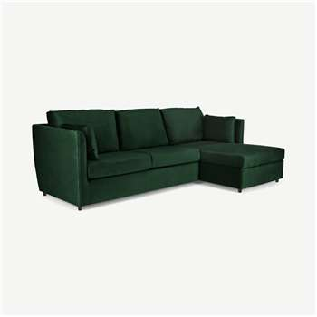 Milner Right Hand Facing Corner Storage Sofa Bed with Memory Foam Mattress, Bottle Green Velvet (H83 x W247 x D155cm)