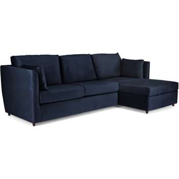 Milner Right Hand Facing Corner Storage Sofa Bed with Memory Foam Mattress, Regal Blue Velvet (H83 x W247 x D155cm)