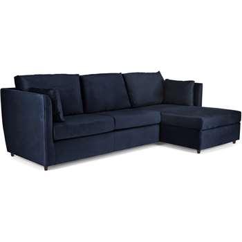 Milner Right Hand Facing Corner Storage Sofa Bed with Memory Foam Mattress, Regal Blue Velvet (H83 x W247 x D155cm)