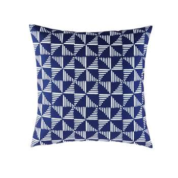 MILOS Blue Outdoor Cushion with White Graphic Motifs (45 x 45cm)