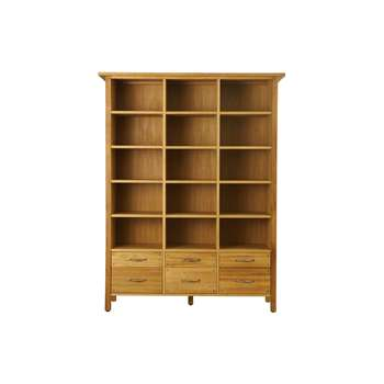 Milton Oak 6 Drawer Bookcase (183 x 142cm)