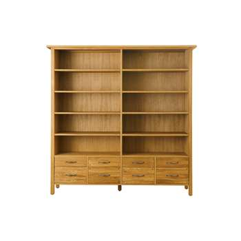 Milton Oak 8 Drawer Bookcase (183 x 184cm)