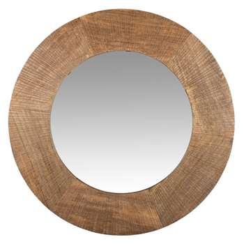 MIMBA - Round Engraved Mango Wood Mirror (Diameter 55cm)