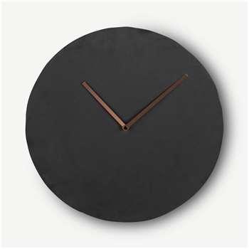 Miner Wall Clock, Slate & Copper (H35 x W35 x D6cm)