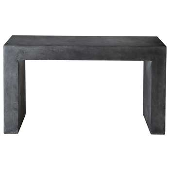 MINERAL Magnesia concrete effect console table in charcoal grey (75 x 135cm)