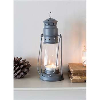 Miners Lantern, Large in Charcoal - Steel (26.5 x 10.5cm)