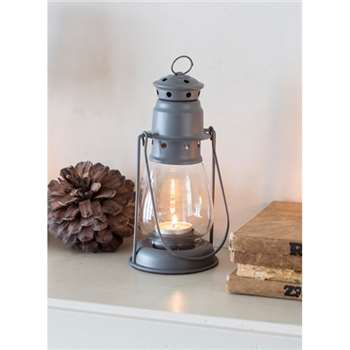 Miners Lantern, Small in Charcoal - Steel (20 x 9cm)