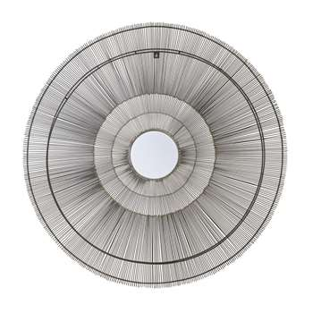 MINGALI - Round Black Metal Wire Mirror (H113 x W113 x D4cm)
