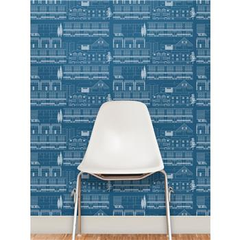 "Mini Moderns ""Do You Live In A Town?"" Wallpaper, Blue"