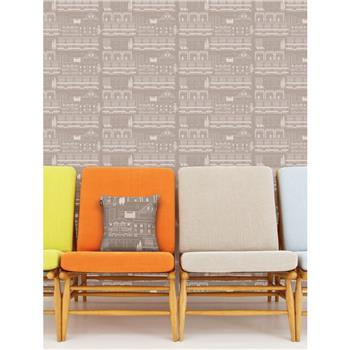 "Mini Moderns ""Do You Live In A Town?"" Wallpaper, Cedar"