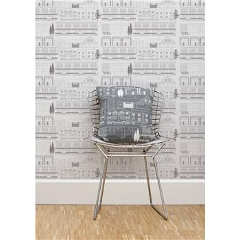 "Mini Moderns ""Do You Live In A Town?"" Wallpaper, Concrete"