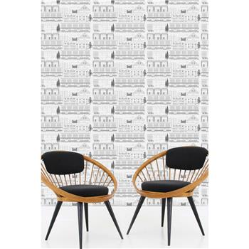 "Mini Moderns ""Do You Live In A Town?"" Wallpaper, Snow"
