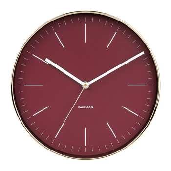 Minimalist wall clock burgundy (H27.5 x W27.5 x D5cm)